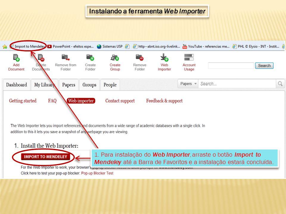 Instalando a ferramenta Web Importer 1.
