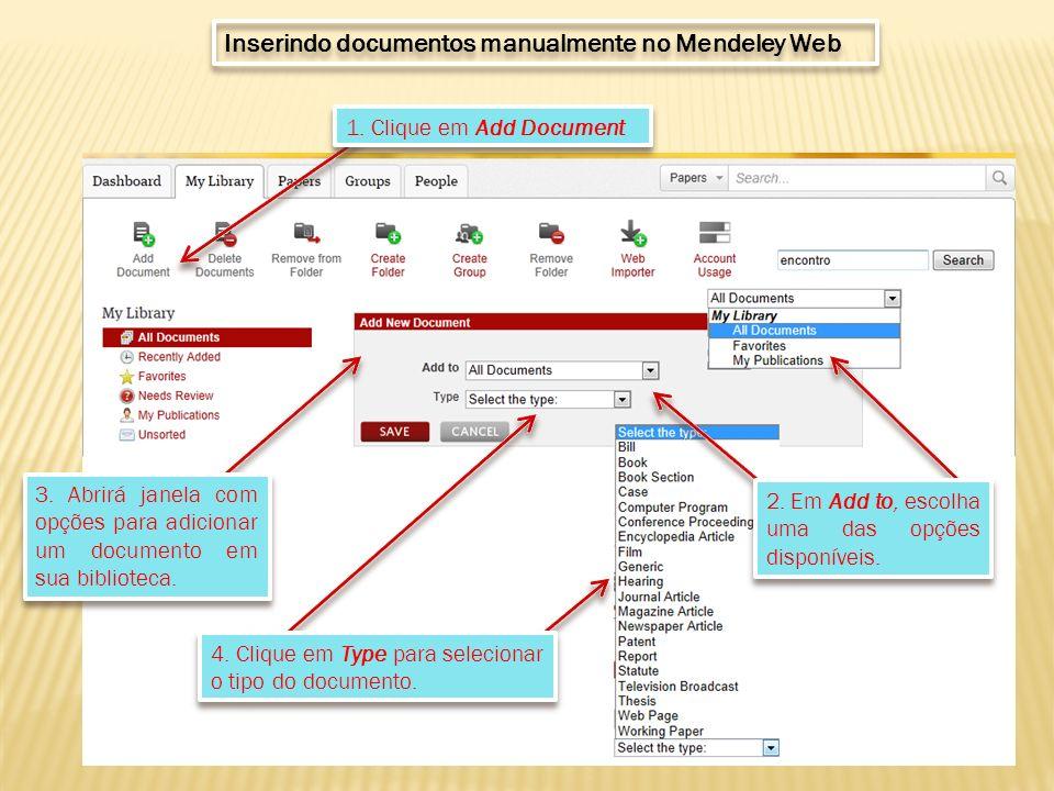 3. Abrirá janela com opções para adicionar um documento em sua biblioteca.