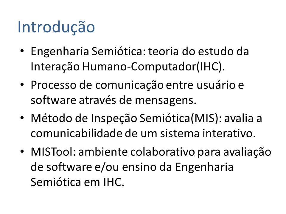 Introdução Engenharia Semiótica: teoria do estudo da Interação Humano-Computador(IHC). Processo de comunicação entre usuário e software através de men