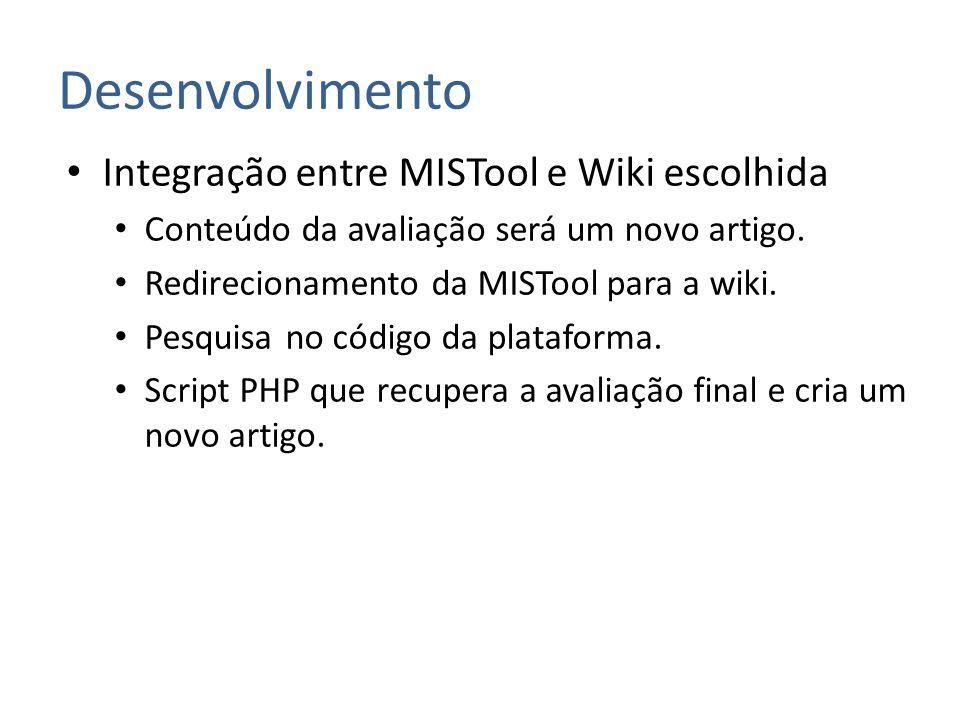 Desenvolvimento Integração entre MISTool e Wiki escolhida Conteúdo da avaliação será um novo artigo. Redirecionamento da MISTool para a wiki. Pesquisa
