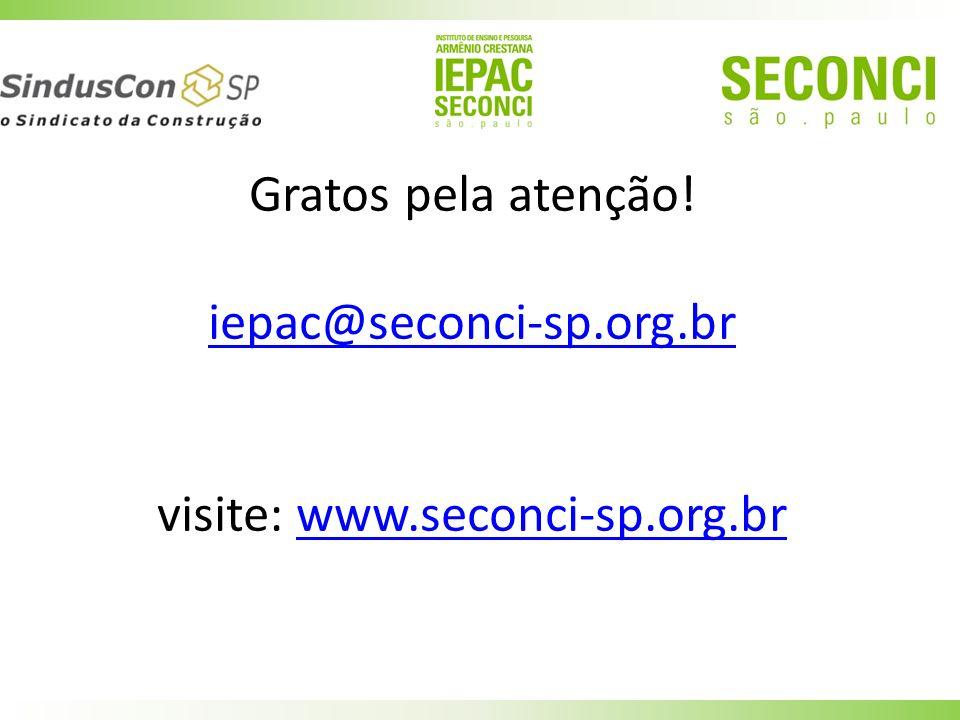 Gratos pela atenção! iepac@seconci-sp.org.br visite: www.seconci-sp.org.brwww.seconci-sp.org.br