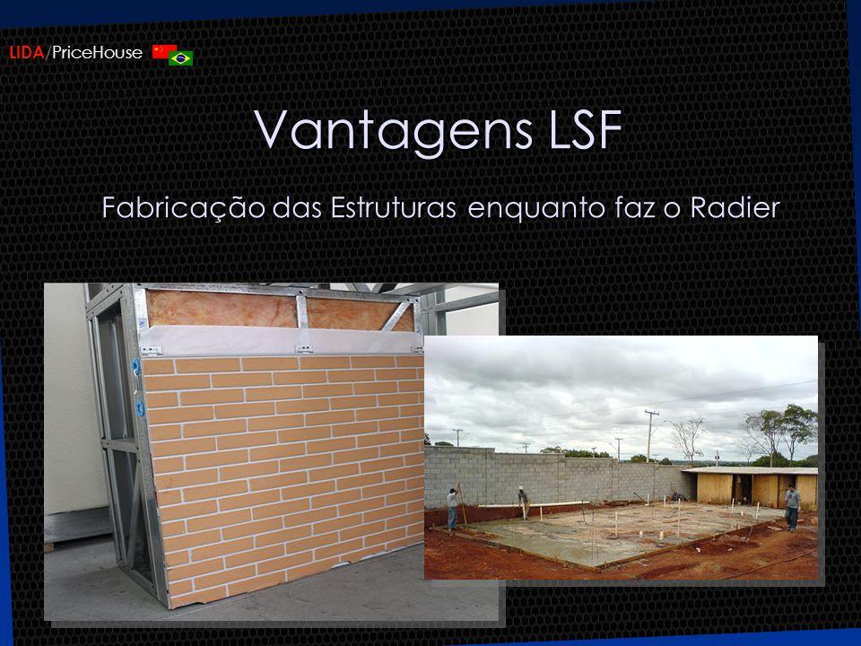 LIDA /PriceHouse Vantagens LSF Fabricação das Estruturas enquanto faz o Radier