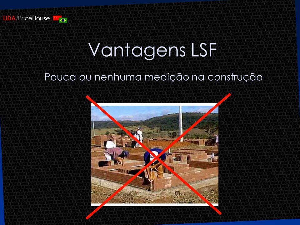 LIDA /PriceHouse Vantagens LSF Pouca ou nenhuma medição na construção