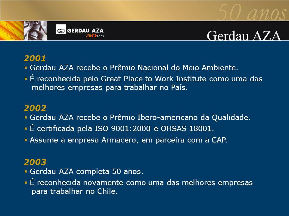 2001 Gerdau AZA recebe o Prêmio Nacional do Meio Ambiente. É reconhecida pelo Great Place to Work Institute como uma das melhores empresas para trabal