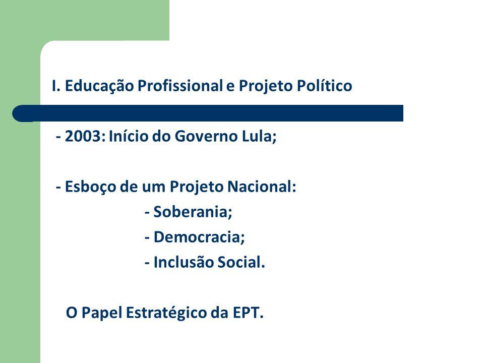 I. Educação Profissional e Projeto Político - 2003: Início do Governo Lula; - Esboço de um Projeto Nacional: - Soberania; - Democracia; - Inclusão Soc