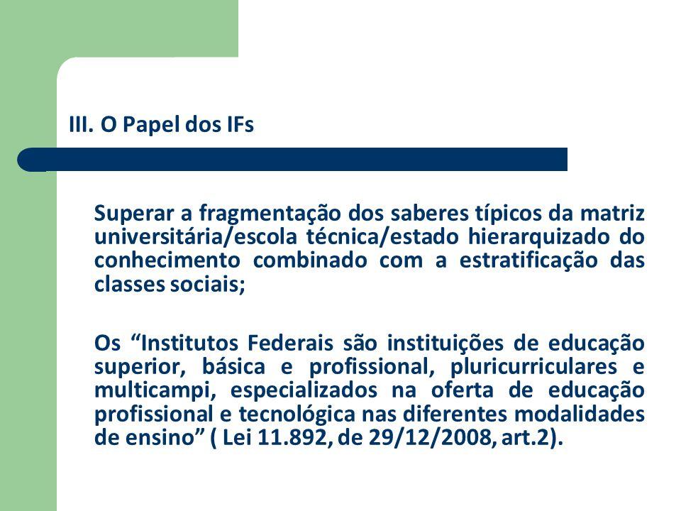 III. O Papel dos IFs Superar a fragmentação dos saberes típicos da matriz universitária/escola técnica/estado hierarquizado do conhecimento combinado