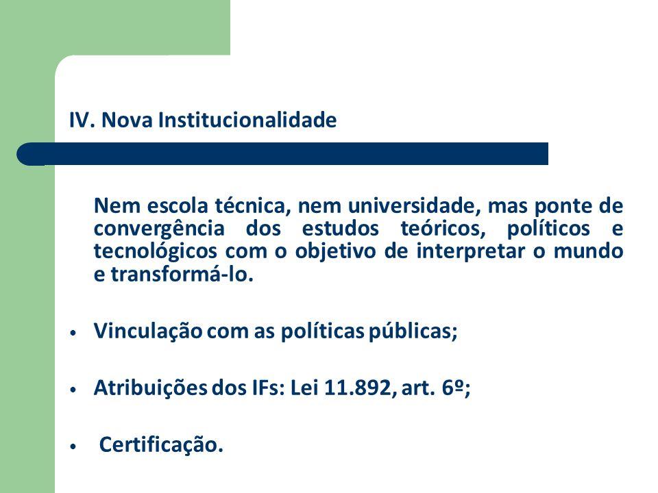 IV. Nova Institucionalidade Nem escola técnica, nem universidade, mas ponte de convergência dos estudos teóricos, políticos e tecnológicos com o objet