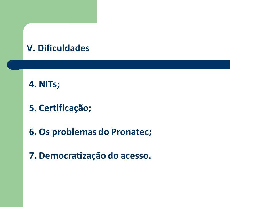 V. Dificuldades 4. NITs; 5. Certificação; 6. Os problemas do Pronatec; 7. Democratização do acesso.