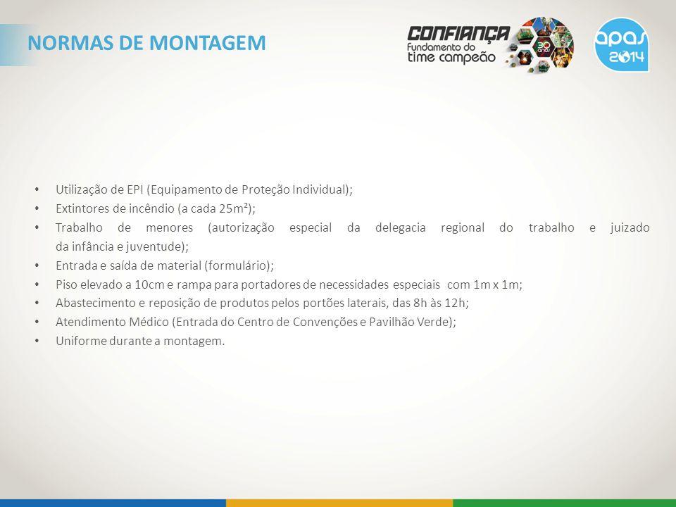 Utilização de EPI (Equipamento de Proteção Individual); Extintores de incêndio (a cada 25m²); Trabalho de menores (autorização especial da delegacia r