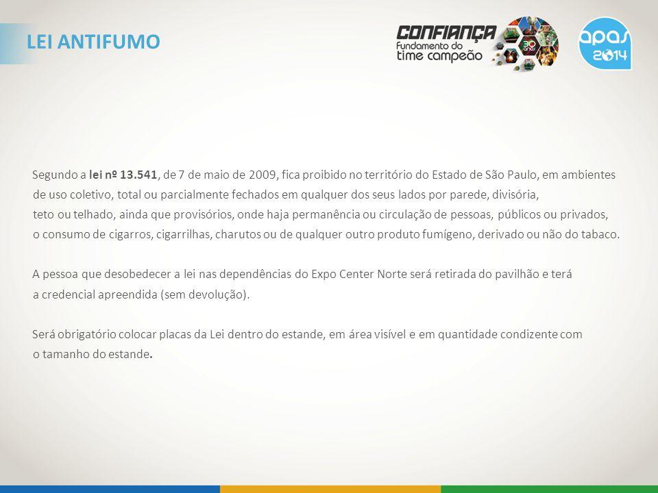 Segundo a lei nº 13.541, de 7 de maio de 2009, fica proibido no território do Estado de São Paulo, em ambientes de uso coletivo, total ou parcialmente