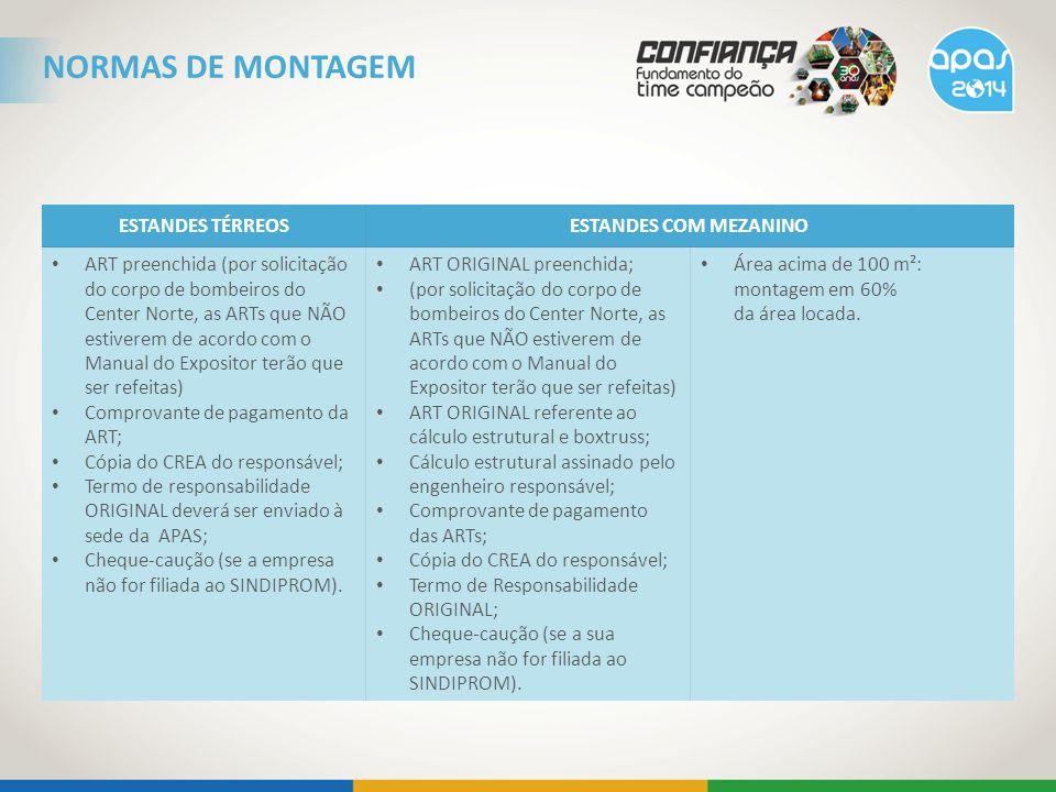 ESTANDES TÉRREOSESTANDES COM MEZANINO ART preenchida (por solicitação do corpo de bombeiros do Center Norte, as ARTs que NÃO estiverem de acordo com o