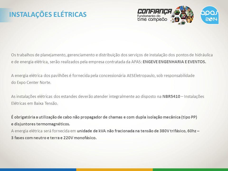 Os trabalhos de planejamento, gerenciamento e distribuição dos serviços de instalação dos pontos de hidráulica e de energia elétrica, serão realizados pela empresa contratada da APAS: ENGEVE ENGENHARIA E EVENTOS.