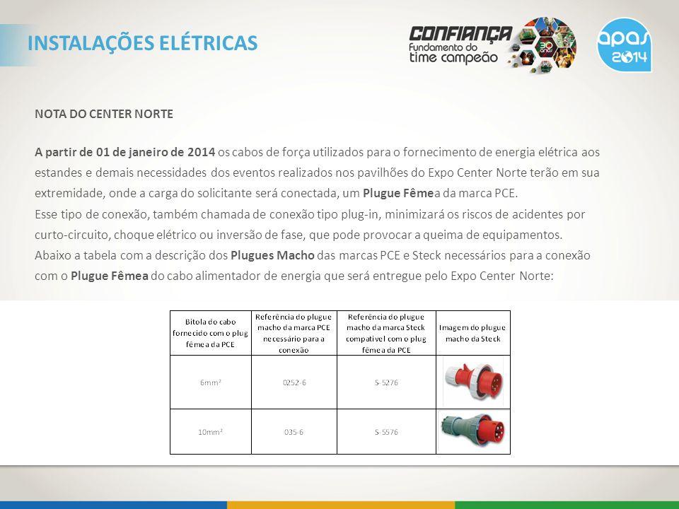 NOTA DO CENTER NORTE A partir de 01 de janeiro de 2014 os cabos de força utilizados para o fornecimento de energia elétrica aos estandes e demais nece
