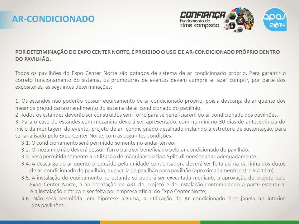 POR DETERMINAÇÃO DO EXPO CENTER NORTE, É PROIBIDO O USO DE AR-CONDICIONADO PRÓPRIO DENTRO DO PAVILHÃO.
