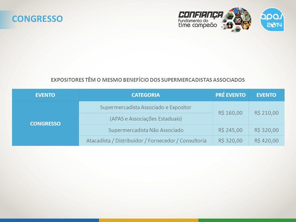 EXPOSITORES TÊM O MESMO BENEFÍCIO DOS SUPERMERCADISTAS ASSOCIADOS EVENTOCATEGORIAPRÉ EVENTOEVENTO CONGRESSO Supermercadista Associado e Expositor R$ 160,00R$ 210,00 (APAS e Associações Estaduais) Supermercadista Não AssociadoR$ 245,00R$ 320,00 Atacadista / Distribuidor / Fornecedor / ConsultoriaR$ 320,00R$ 420,00 CONGRESSO