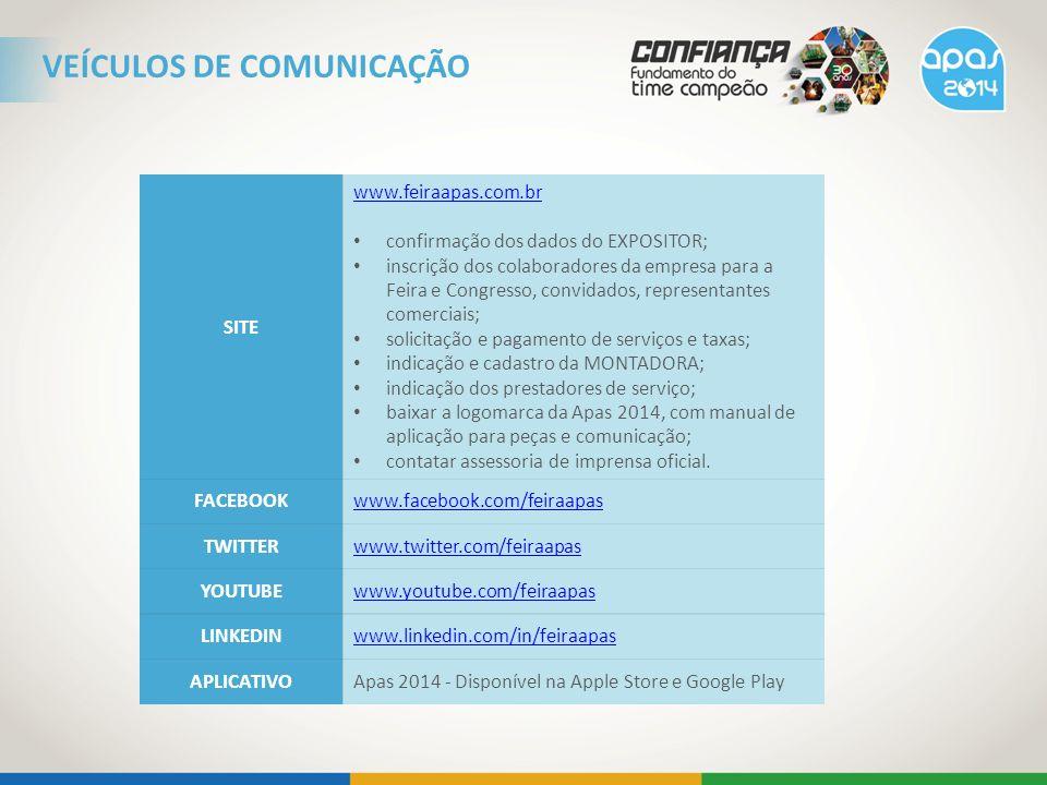 VEÍCULOS DE COMUNICAÇÃO SITE www.feiraapas.com.br confirmação dos dados do EXPOSITOR; inscrição dos colaboradores da empresa para a Feira e Congresso,