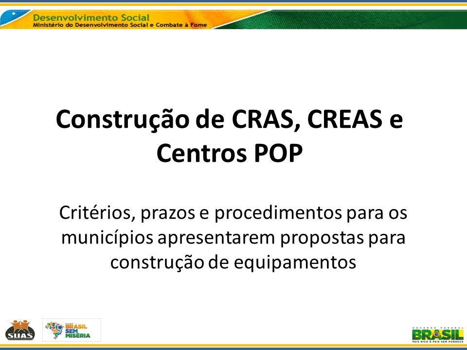 Construção de CRAS, CREAS e Centros POP Critérios, prazos e procedimentos para os municípios apresentarem propostas para construção de equipamentos