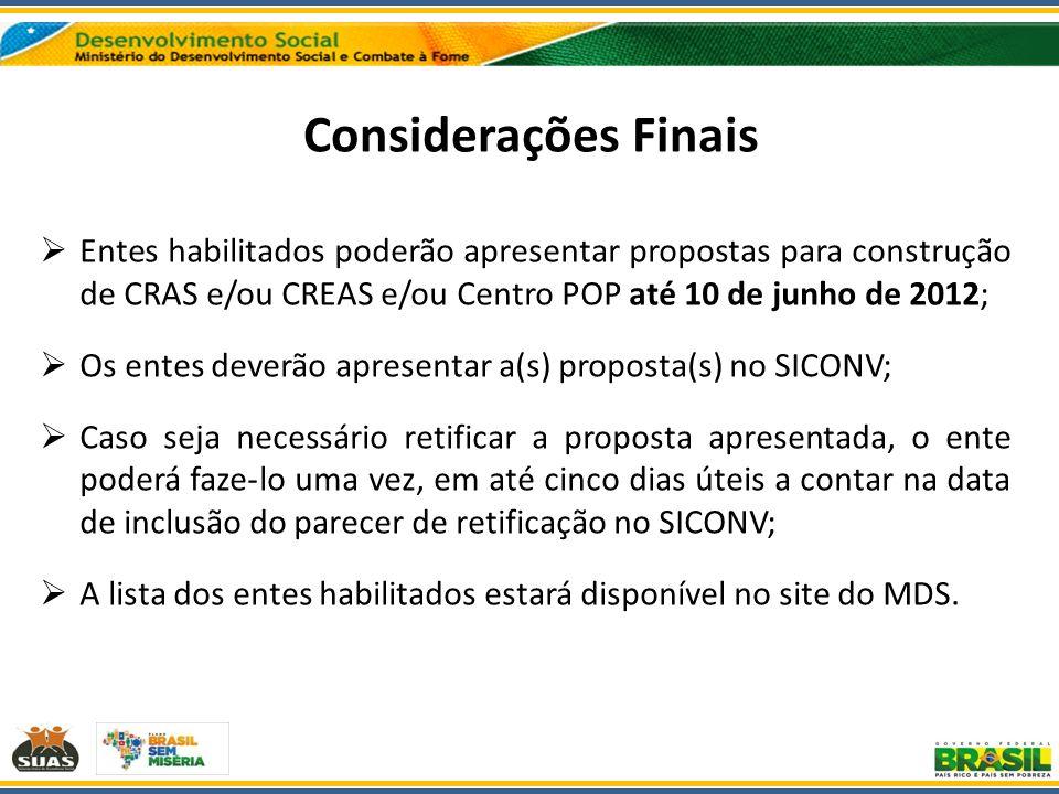 Considerações Finais Entes habilitados poderão apresentar propostas para construção de CRAS e/ou CREAS e/ou Centro POP até 10 de junho de 2012; Os ent