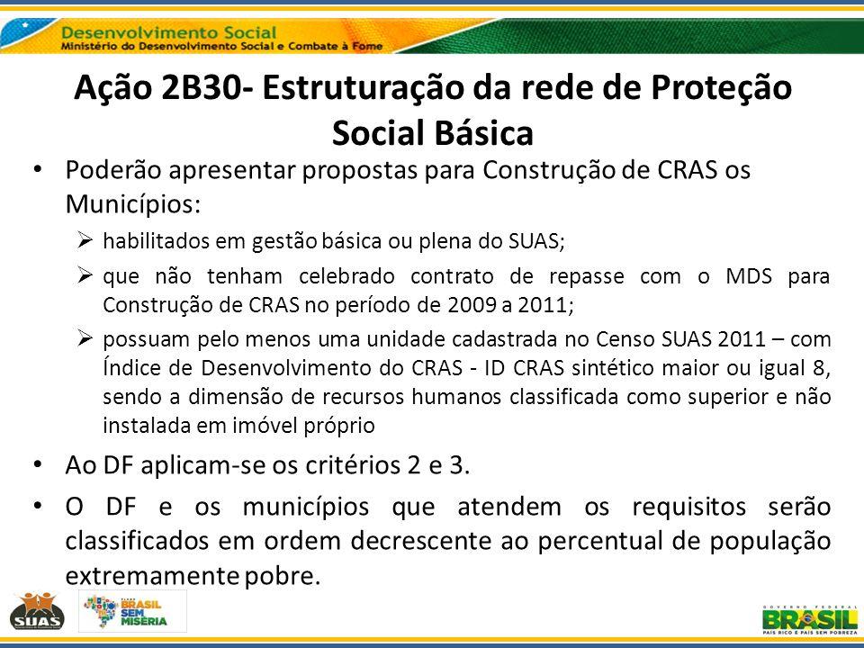 Ação 2B30- Estruturação da rede de Proteção Social Básica Poderão apresentar propostas para Construção de CRAS os Municípios: habilitados em gestão bá