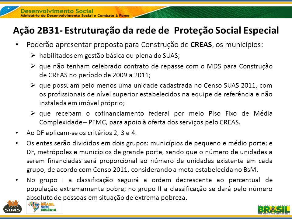 Ação 2B31- Estruturação da rede de Proteção Social Especial Poderão apresentar proposta para Construção de CREAS, os municípios: habilitados em gestão