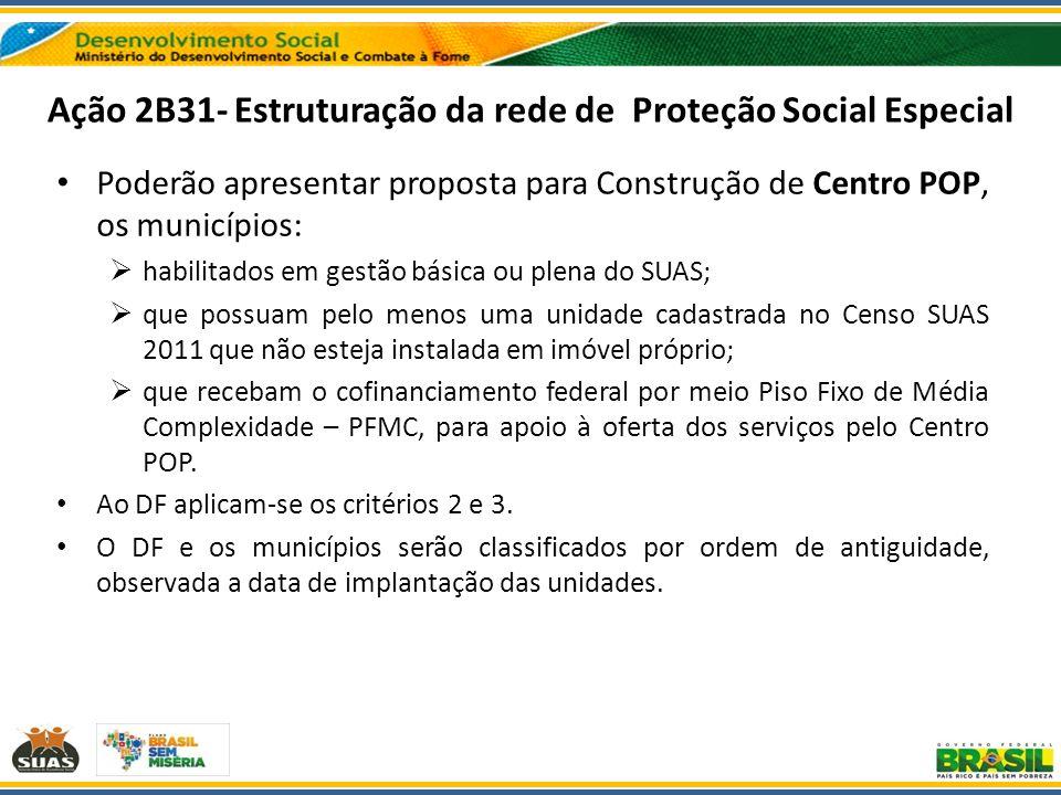 Ação 2B31- Estruturação da rede de Proteção Social Especial Poderão apresentar proposta para Construção de Centro POP, os municípios: habilitados em g
