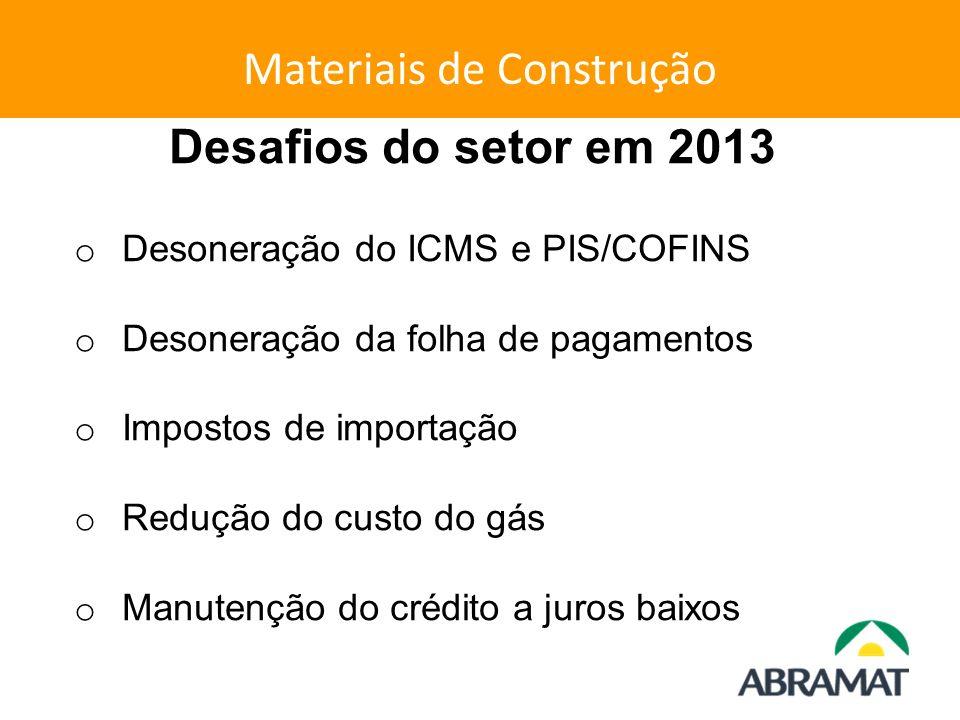 Materiais de Construção Desafios do setor em 2013 o Desoneração do ICMS e PIS/COFINS o Desoneração da folha de pagamentos o Impostos de importação o R
