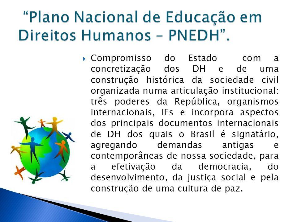 Inicio em 2003 – Comitê Nacional de Educação em Direitos Humanos (CNEDH) – especialistas, representantes da sociedade civil, instituições públicas e privadas e organismos internacionais; De 2004 a 2006 – Divulgação e debate amplo.
