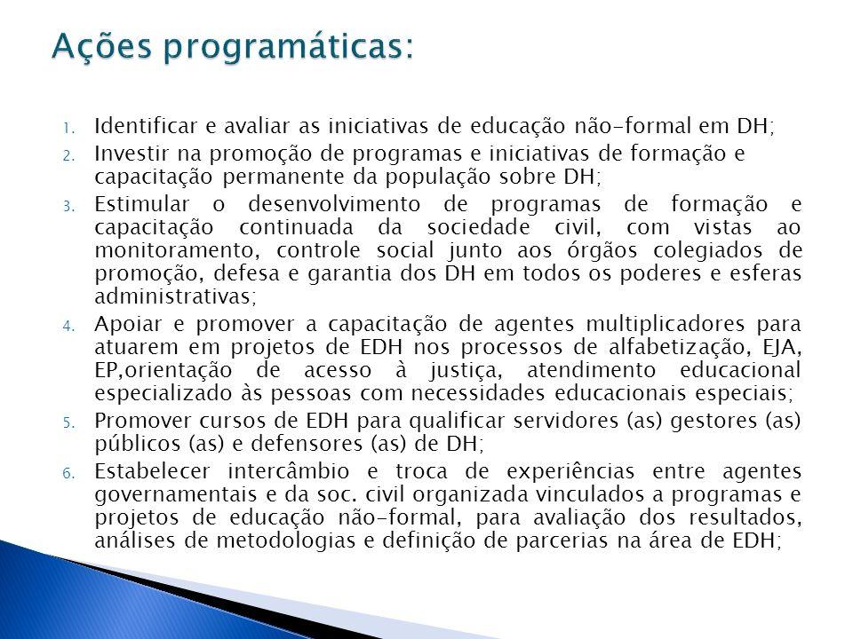 1. Identificar e avaliar as iniciativas de educação não-formal em DH; 2. Investir na promoção de programas e iniciativas de formação e capacitação per