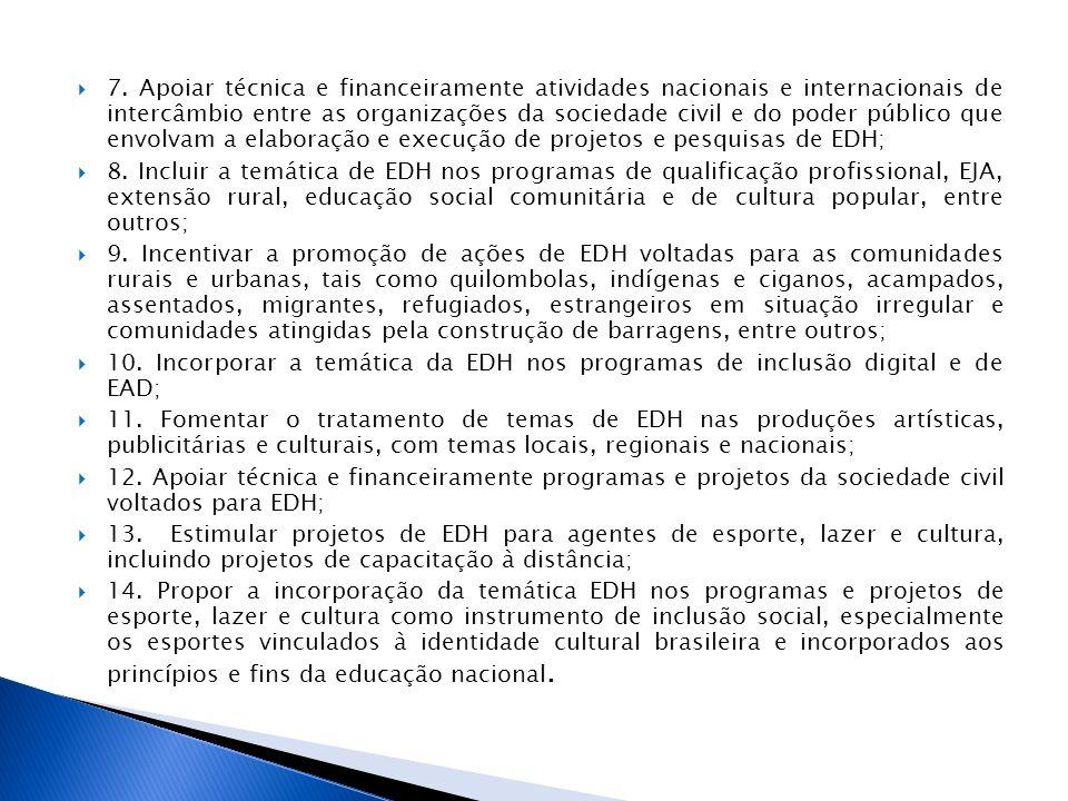 7. Apoiar técnica e financeiramente atividades nacionais e internacionais de intercâmbio entre as organizações da sociedade civil e do poder público q