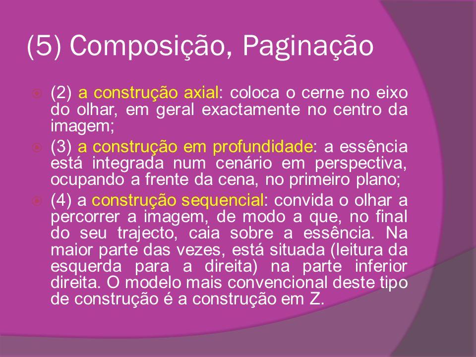 (5) Composição, Paginação (2) a construção axial: coloca o cerne no eixo do olhar, em geral exactamente no centro da imagem; (3) a construção em profu