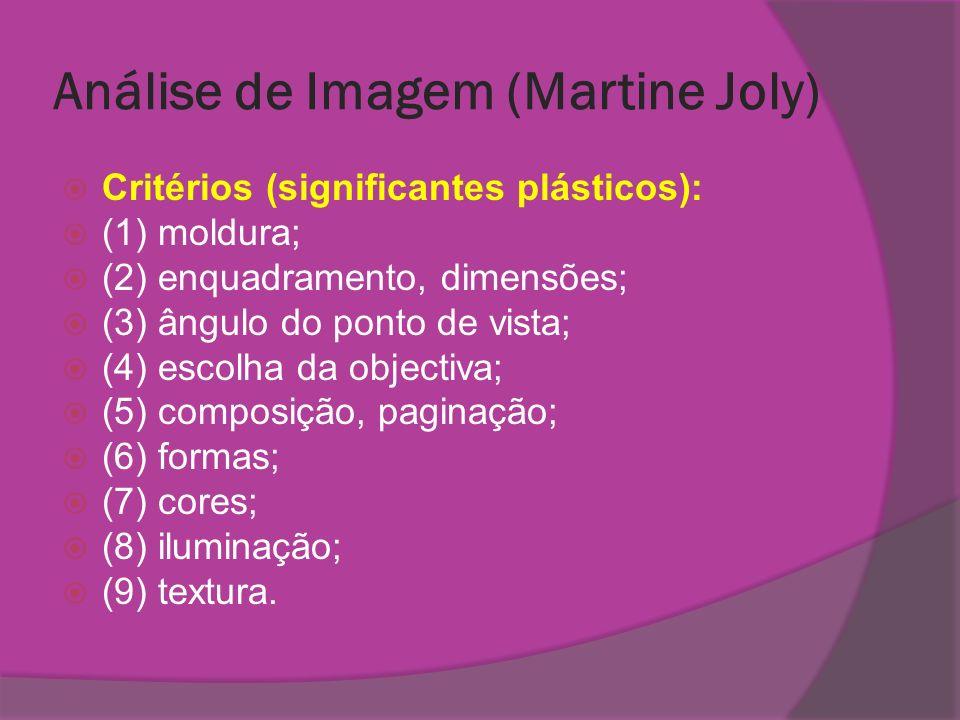 Análise de Imagem (Martine Joly) Critérios (significantes plásticos): (1) moldura; (2) enquadramento, dimensões; (3) ângulo do ponto de vista; (4) esc