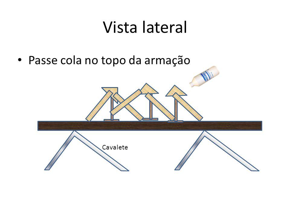 Vista lateral Passe cola no topo da armação Cavalete