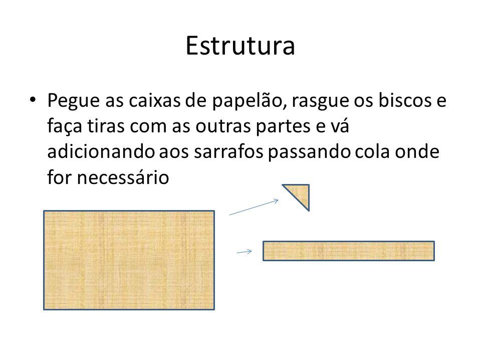 Estrutura Pegue as caixas de papelão, rasgue os biscos e faça tiras com as outras partes e vá adicionando aos sarrafos passando cola onde for necessár