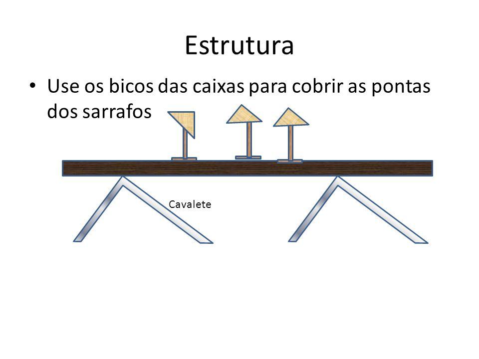 Estrutura Use os bicos das caixas para cobrir as pontas dos sarrafos Cavalete
