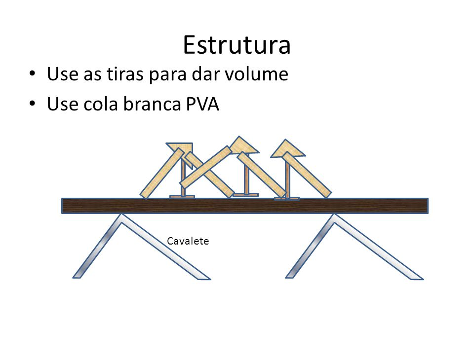 Use as tiras para dar volume Use cola branca PVA Estrutura Cavalete