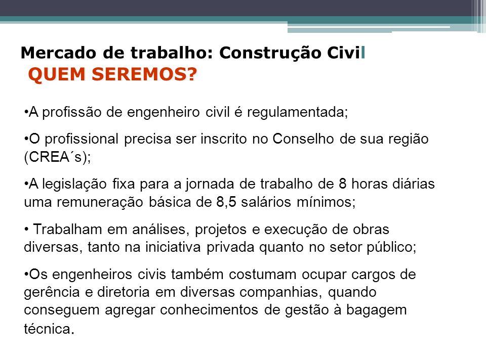 A profissão de engenheiro civil é regulamentada; O profissional precisa ser inscrito no Conselho de sua região (CREA´s); A legislação fixa para a jorn