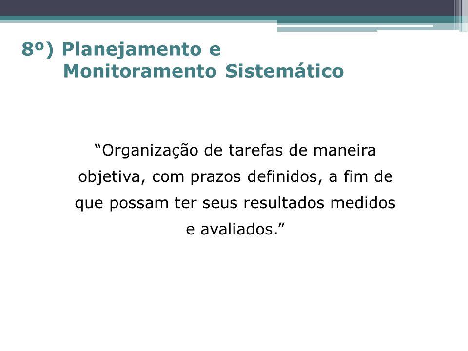 Organização de tarefas de maneira objetiva, com prazos definidos, a fim de que possam ter seus resultados medidos e avaliados. 8º) Planejamento e Moni