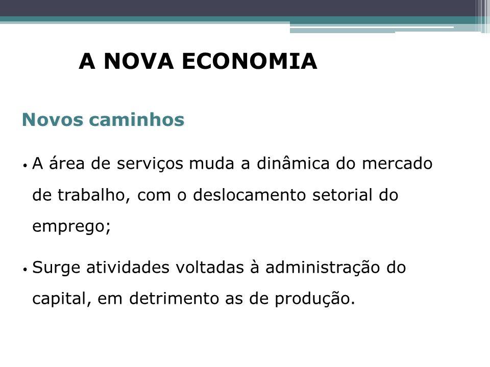 A área de serviços muda a dinâmica do mercado de trabalho, com o deslocamento setorial do emprego; Surge atividades voltadas à administração do capita