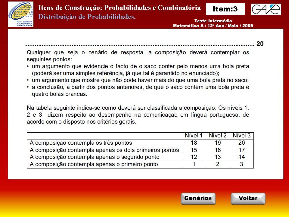 Itens de Construção: Probabilidades e Combinatória Teste Intermédio Matemática A / 12º Ano / Maio / 2009 VoltarCenários Distribuição de Probabilidades.