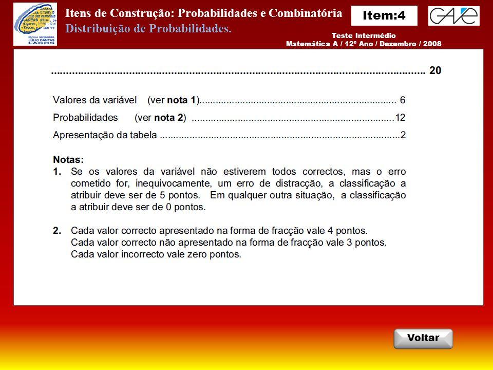 Itens de Construção: Probabilidades e Combinatória Teste Intermédio Matemática A / 12º Ano / Dezembro / 2008 Voltar Distribuição de Probabilidades.