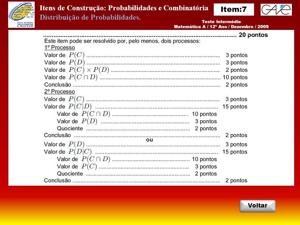 Itens de Construção: Probabilidades e Combinatória Voltar Teste Intermédio Matemática A / 12º Ano / Dezembro / 2009 Distribuição de Probabilidades.