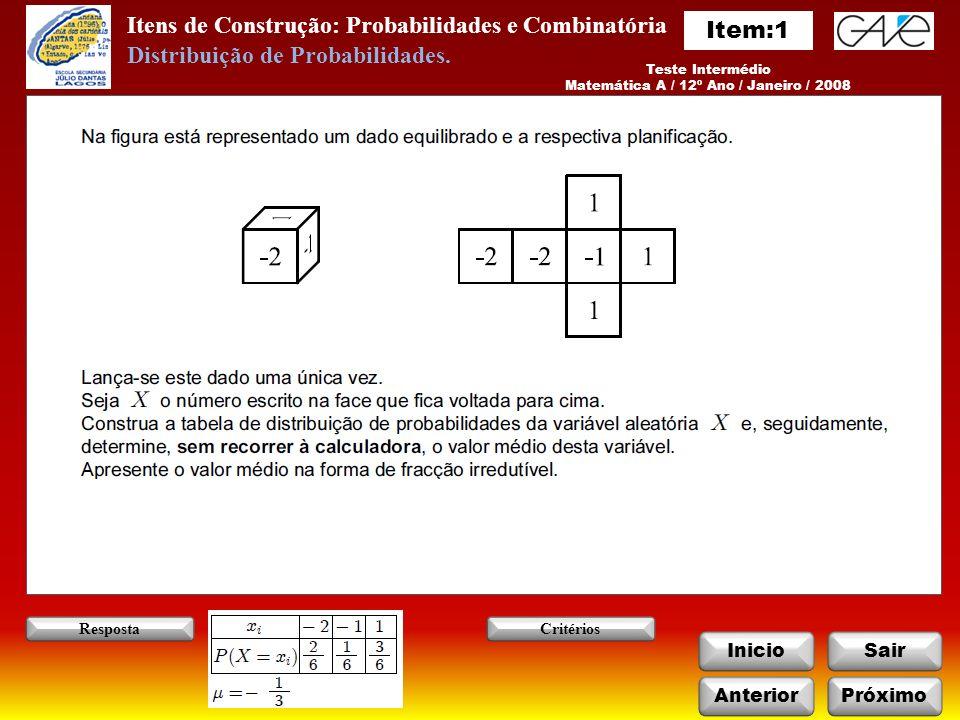Itens de Construção: Probabilidades e Combinatória InicioSair Teste Intermédio Matemática A / 12º Ano / Janeiro / 2008 AnteriorPróximo RespostaCritérios Distribuição de Probabilidades.