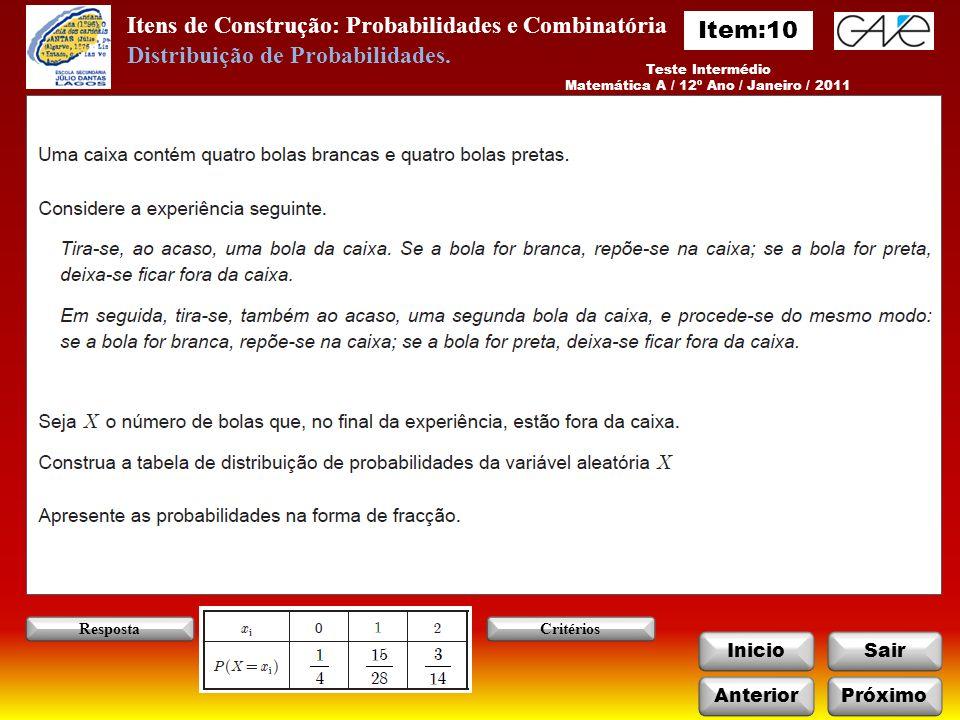 Itens de Construção: Probabilidades e Combinatória InicioSair Teste Intermédio Matemática A / 12º Ano / Janeiro / 2011 AnteriorPróximo RespostaCritérios Distribuição de Probabilidades.
