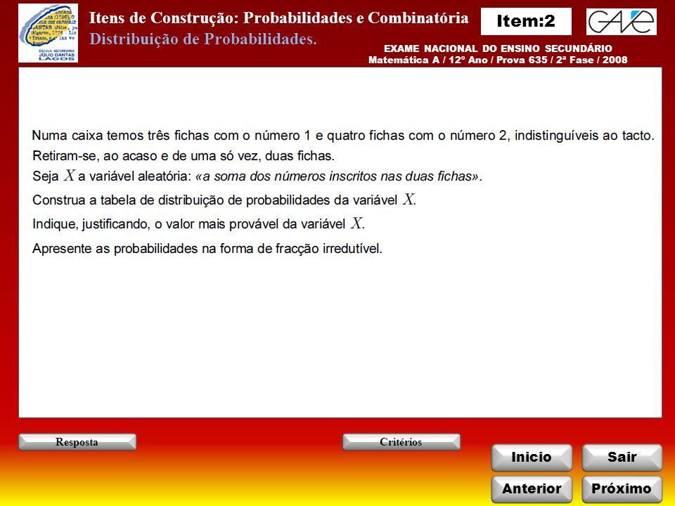 Itens de Construção: Probabilidades e Combinatória InicioSair AnteriorPróximo RespostaCritérios EXAME NACIONAL DO ENSINO SECUNDÁRIO Matemática A / 12º Ano / Prova 635 / 2ª Fase / 2008 Distribuição de Probabilidades.