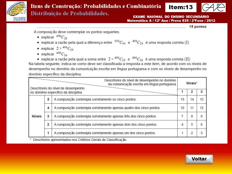 Itens de Construção: Probabilidades e Combinatória EXAME NAIONAL DO ENSINO SECUNDÁRIO Matemática A / 12º Ano / Prova 635 / 2ªFase / 2012 Voltar Distribuição de Probabilidades.