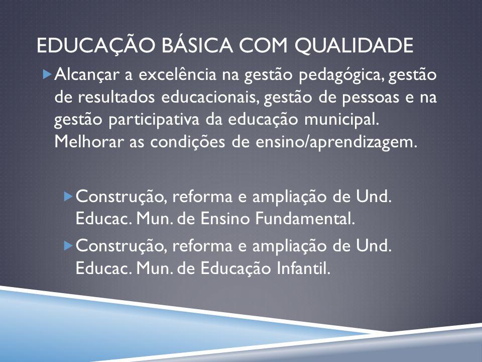 EDUCAÇÃO BÁSICA COM QUALIDADE Alcançar a excelência na gestão pedagógica, gestão de resultados educacionais, gestão de pessoas e na gestão participati