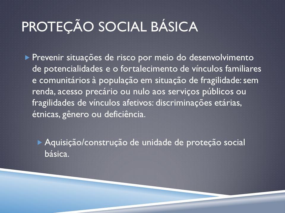 PROTEÇÃO SOCIAL BÁSICA Prevenir situações de risco por meio do desenvolvimento de potencialidades e o fortalecimento de vínculos familiares e comunitá