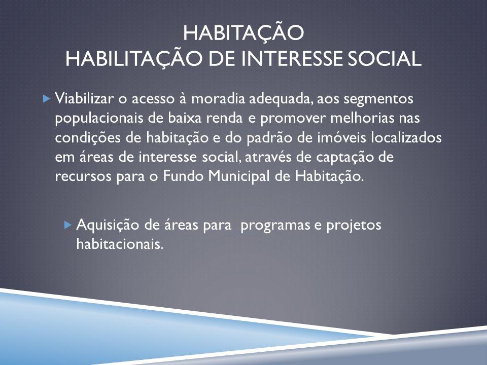 HABITAÇÃO HABILITAÇÃO DE INTERESSE SOCIAL Viabilizar o acesso à moradia adequada, aos segmentos populacionais de baixa renda e promover melhorias nas