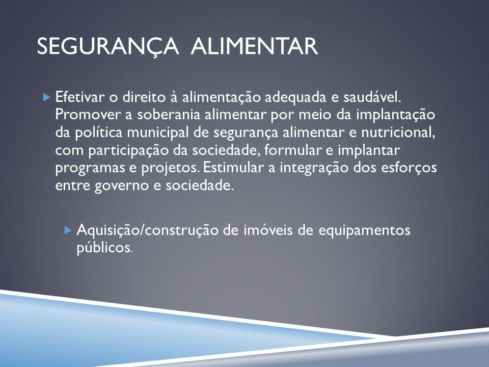 SEGURANÇA ALIMENTAR Efetivar o direito à alimentação adequada e saudável. Promover a soberania alimentar por meio da implantação da política municipal