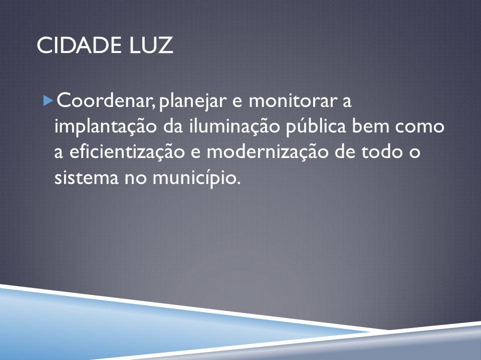 CIDADE LUZ Coordenar, planejar e monitorar a implantação da iluminação pública bem como a eficientização e modernização de todo o sistema no município